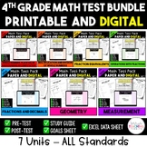 4th Grade CC Math Test & Excel Data Sheet Bundle - ALL STANDARDS