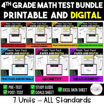 Math Test & Excel Data Sheet Bundle  *4th Grade*