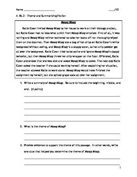 4th Grade CCSS ELA RL.4.2 Assessment