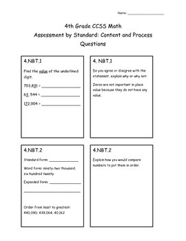 4th Grade CCSS Math Assessment by Standard- Content and Pr