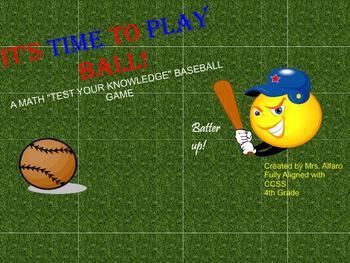 4th Grade CCSS Math Baseball Game SMARTBOARD FLIPCHART ~ T