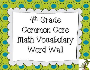 4th Grade CCSS Math Vocabulary Word Wall {Blue/Green Speci
