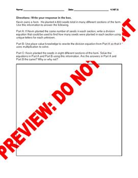 4th Grade CCSS Model Division Assessment Bank (4.NBT.6)