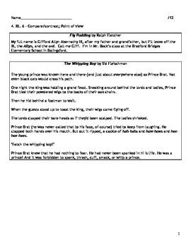 4th Grade CCSS RL. 4.6 ELA Assessment
