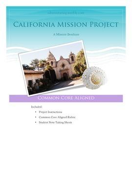 4th Grade California History Mission Project - Common Core
