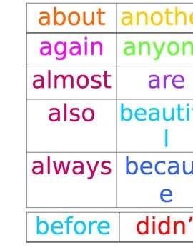 4th Grade Color-Coded Word Wall Words