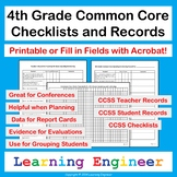 4th Grade Checklists for Common Core ELA and Math Learning