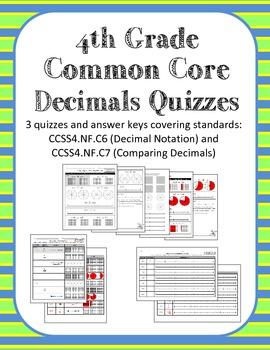 4th Grade Common Core Decimals Quizzes