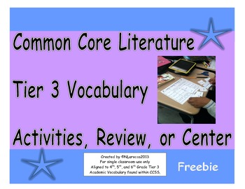 Common Core Literature Tier 3 Vocabulary Activities, Revie