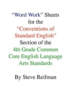 "4th Grade Common Core English Language Arts ""Word Work"" Ac"