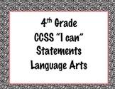 4th Grade Common Core I Can Statements {Black, White & Pin