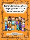 "4th Grade Common Core Language Arts and Math ""I Can Statem"