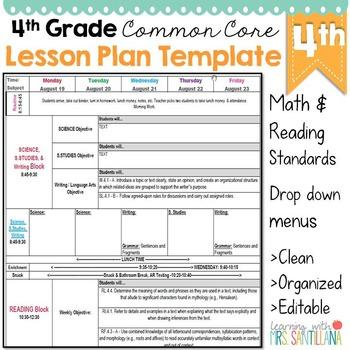 4th Grade Common Core Lesson Plan Template