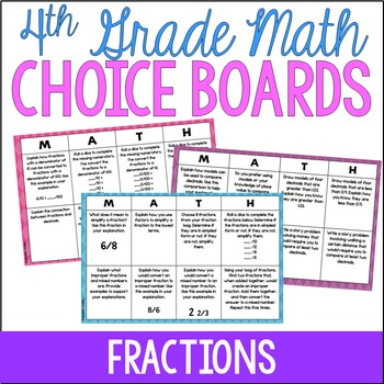 4th Grade Common Core Math Choice Boards {Fractions}