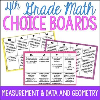 4th Grade Common Core Math Choice Boards {Measurement and