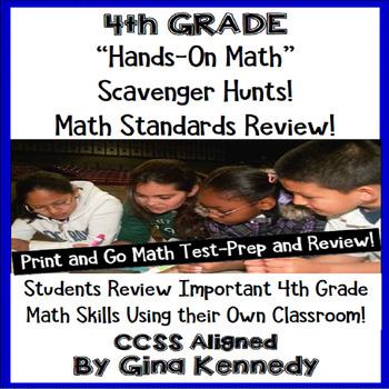 4th Grade Common Core Math Test-Prep, Scavenger Hunts in Y