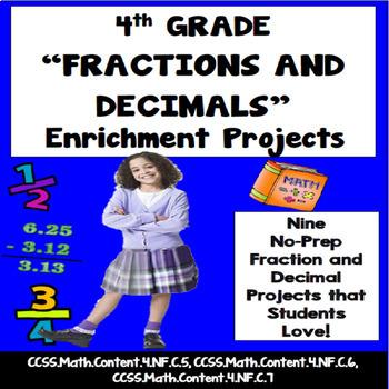 4th Grade Fractions and Decimals Enrichment Projects, Voca