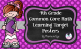 4th Grade Common Core Math Learning Target Posters