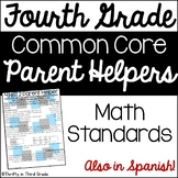 4th Grade Common Core Math Parent Helper -also in Spanish