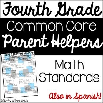 4th Grade Common Core Math Parent Helper -also in Spanish