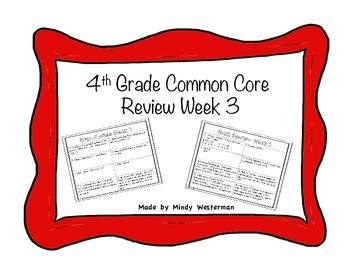 4th Grade Common Core Math Review Week 3