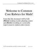 4th Grade Common Core Math Rubric