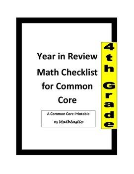 4th Grade Common Core Math Standards Checklist