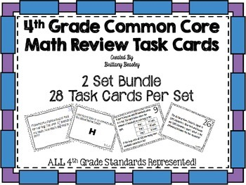 4th Grade Common Core Math Task Cards - 2 Sets *ALL Standa