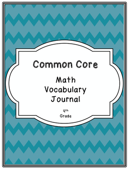 4th Grade Common Core Math Vocabulary Book / Journal