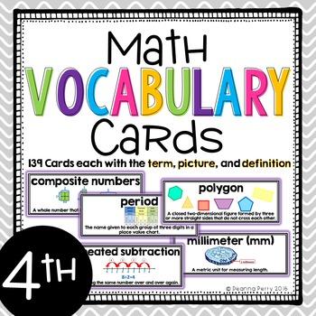 4th Grade Common Core Math Vocabulary Cards with Definitio