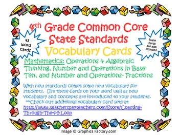 4th Grade Common Core Mathematics Vocabulary Cards Set 1