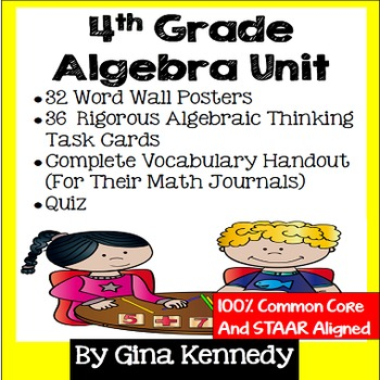 4th Grade Algebra Unit, Handouts, Word Wall, Task Cards an