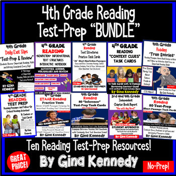 4th Grade Reading Bundle, Interactive Notebooks, Task Card