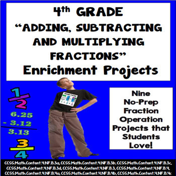 4th Grade Math Adding, Subtracting and Multiplying Fractio