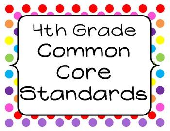 4th Grade Common Core Standards Posters - Colored Dots