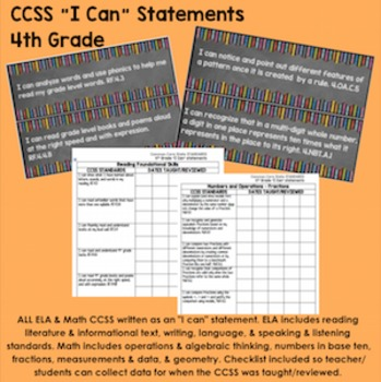 "4th Grade Common Core State Standards CCSS ""I Can"" Stateme"