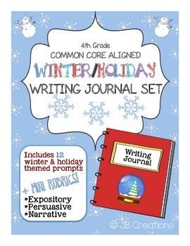 4th Grade Common Core Winter Writing Journal Set (task car