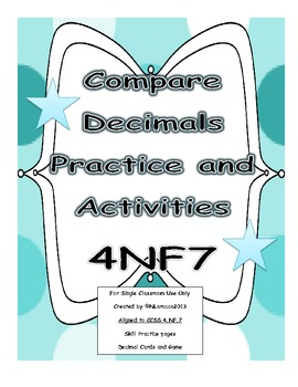 4th Grade Compare Decimals Worksheets, Activities, and Cen