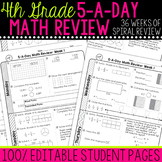 4th Grade Daily Math Spiral Review | Morning Work