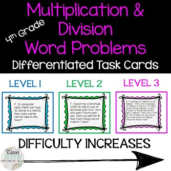 4th Grade Differentiated Task Cards - Multiplication and D
