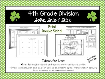 4th Grade Division: Solve, Snip, & Stick; St. Patty's Day Theme