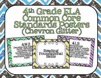4th Grade ELA Common Core Posters- Chevron Glitter