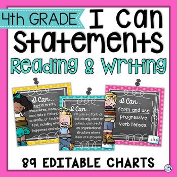 4th Grade ELA I Can Posters - Chalkboard & Polka Dots