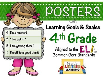 4th Grade ELA Posters (4RL1-2, RI1-2) with Marzano Scales - FREE!