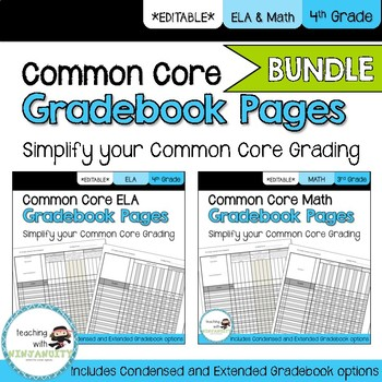 4th Grade ELA and Math Common Core **EDITABLE** Gradebook