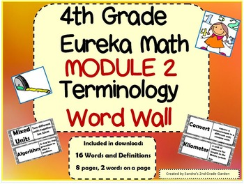 4th Grade Eureka Math Mod 2 Terminology Word Wall 16 Words