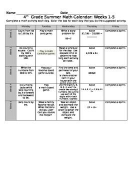4th Grade Eureka Math Summer Calendar  10 Weeks