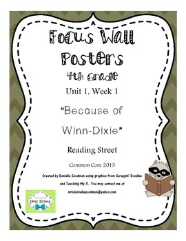 "4th Grade Focus Wall ""Because of Winn-Dixie"" Reading Stree"