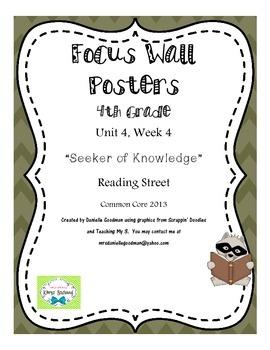 "4th Grade Focus Wall ""Seeker of Knowledge"" Reading Street 2013 CC"