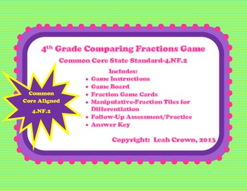 Comparing Fractions Math Station Game with Manipulative &